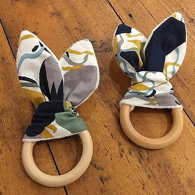 Wood And Cotton Crinkle Sound Bunny Ears Teething Ring,  Geometric Mustard, Blue