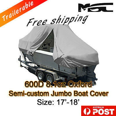 MSC New Design with Zipper 600D 5.2-5.5m 17ft-18ft T-Top Jumbo Boat Cover Grey