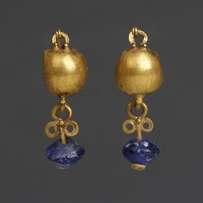 Roman Gold Earrings with Blue Glass