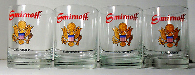 4 Smirnoff Vodka Glasses - US ARMY Beer Glass 11 Ounces - Coat of Arms - Seal