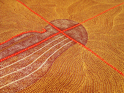 "ABORIGINAL ART PAINTING by KATHLEEN PETYARRE ""MOUNTAIN DEVIL LIZARD DREAMING"""