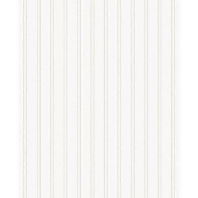 Paintable Prepasted Beadboard Stripes Texture Wallpaper, White