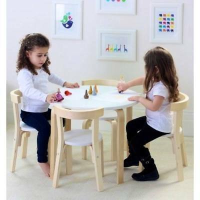 Hip Kids Boston White Birch Wood Table and 4 Chairs Set Children Toddler