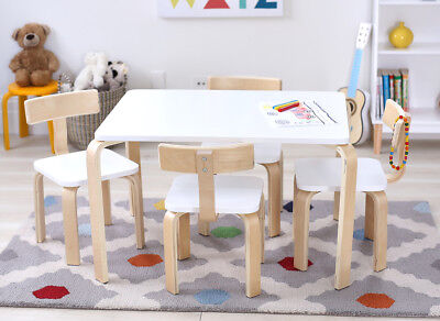 Hip Kids Clio White Poplar Ply Wood Table and 4 Chairs Set Children Toddler