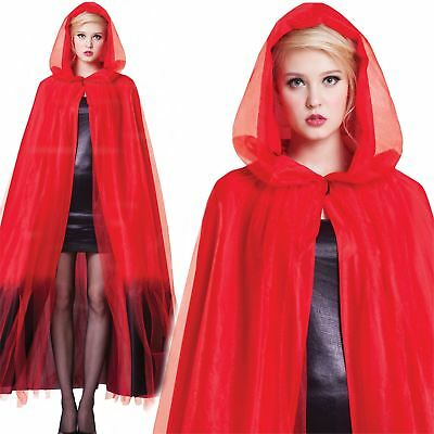 Red Ladies Hooded Layered Ombre Long Cape Halloween Fancy Dress Vampire Cloak