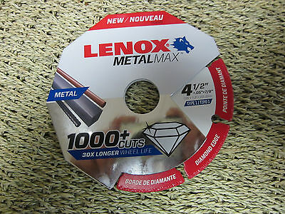 "Lenox Metal Max Diamond Edge Cut-Off Wheel 4 1/2 x .05 x 7/8"" 1972921 1000+ Cuts"