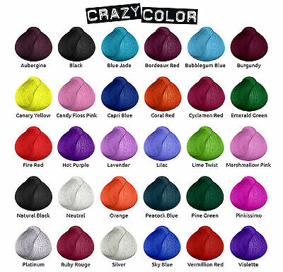 CRAZY COLOR HAIR DYE100 ML - All Cols &  SAPPHIRE - ROSE OLD- SLATE- ICE MAUVE