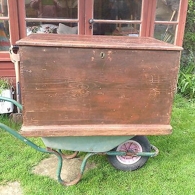 A Large Antique Travelling or Seaman's Chest, Very Rustic , Loads Of Character!