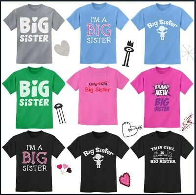 Big Sister T-Shirt Sibling Gift Toddler Kids Baby Brother Funny Announcement