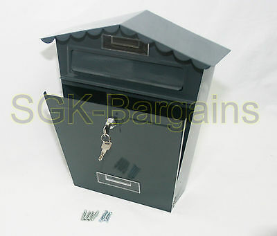 Large GREY Lockable Mailbox Post Letter Box Coated Steel Wall Mounted 2 Keys