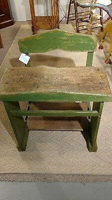 Antique school desk with attached bench and original green painted finish