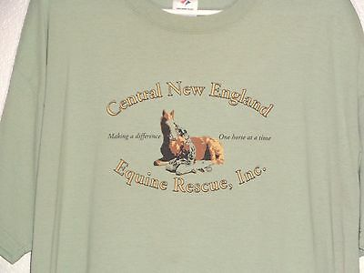 XL CENTRAL NEW ENGLAND EQUINE RESCUE T-SHIRT 50/50 Sage VERY GOOD
