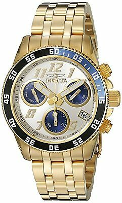 NEW Invicta 19195 Men's Pro Diver Chrono Day & Date Silver Dial Gold Steel Watch