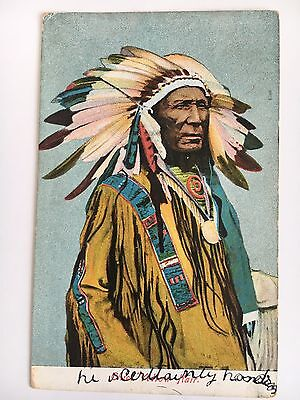 1909 Divided Back Postcard Portrait Indian Chief Yellow Hair Postally Used