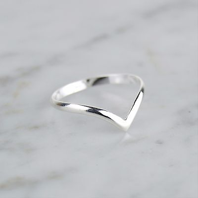 Sterling Silver 925 2mm Wide Skinny Wishbone Stacking Ring   FREE UK Delivery