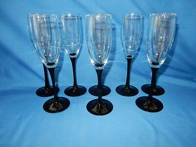 "Set of 8 Black Stem Wine Champagne Flutes Glass Crystal Goblet 8 3/4"" France"