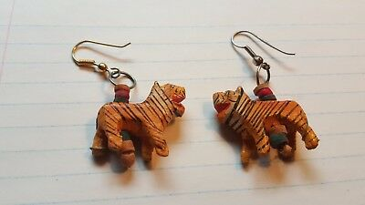 Carved Tiger earings, or 2 Wood Tiger Beads hand carved and painted