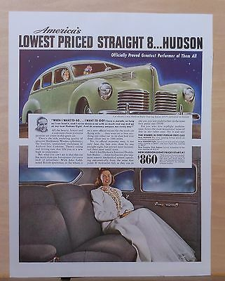 1940 magazine ad for Hudson Eight Touring Sedan - Officially proved Performer