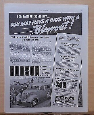 1939 magazine ad for Hudson - You May have a date with a Blowout! Auto-Poise