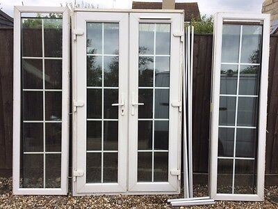 white upvc georgian french doors and side panels