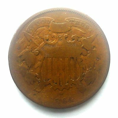 """1864 Two Cent Piece  """"TUCK""""  Very Rare Small Motto Shield Coin 2 Cent M147"""
