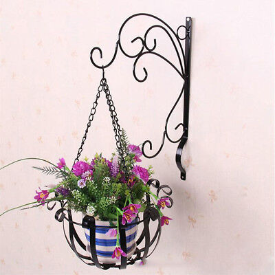 Single Iron Hanging Flower Plant Planter Basket Vase for Plants Pot Holder Black