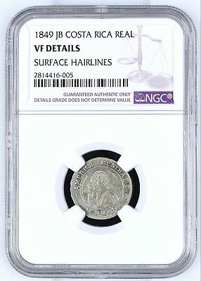 Costa Rica: 1 Real 1849 Jb, Ngc Very Fine, Silver Coin, Km#66