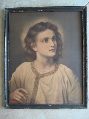 "Old Vintage Christ At The Age Of Twelve Print W/wooden Frame, 21 1/2"" X 17 1/2"""