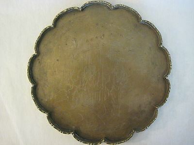 Vintage Brass Chinese Hand Carved Mandarin Figurines Serving Round Tray Platter