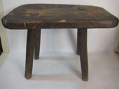 "Vintage Hand Made Rustic Wooden Seat Sitting Stool Bench, 16"" X 10"" X 11"" H"