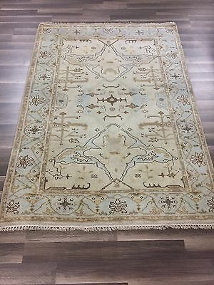 "On Sale Great Deal Hand Knotted Oushak Rug  Geometric Carpet  4x6, 4'2""x5'11"""