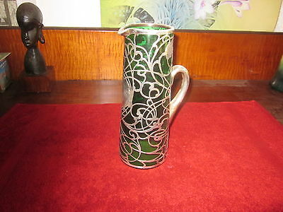 Antique Art Nouveau Sterling Silver Overlay Glass Pitcher, emerald green glass