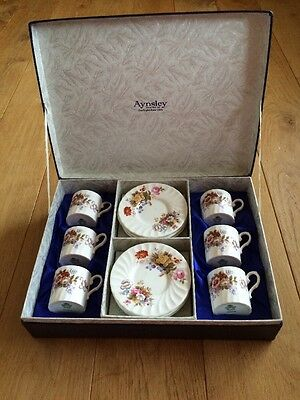 Vintage Collectable Aynsley SUMMERTIME BOXED DEMITASSE COFFEE SET Bone China