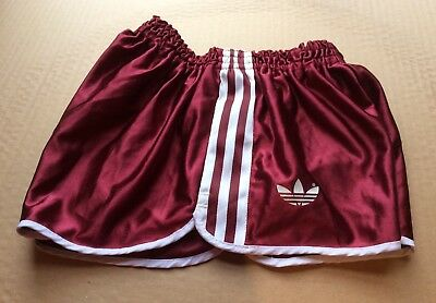 Vintage adidas Ultra Shiny Wet Look, Burgundy Sprinter Shorts, Size 85 (~S)