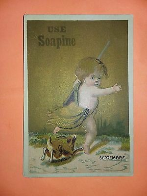 1800's VICTORIAN TRADE CARD, Soapine Septembre Little Kid hunting Providence RI
