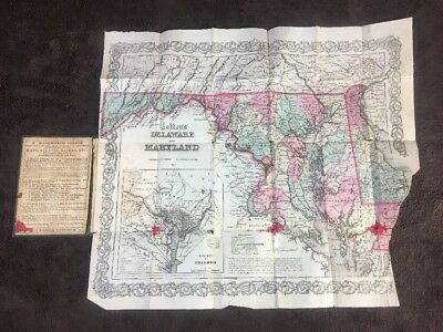 Colton's Map Of Maryland And Delaware 1865 Foldout Map