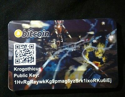 Physical Bitcoin Card Funded Loaded. With 0.01 Btc  Total Annihilation Theme