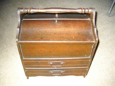 Vintage Mahogany Sewing Cabinet Stand w/Original finish two(2) Drawers - Unusual