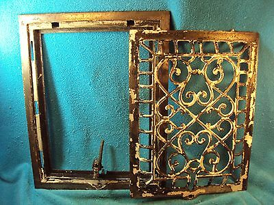 Vtg Antique Ornate Cast Metal 2 Piece Frame & Latching Vent Grill Grate Cover