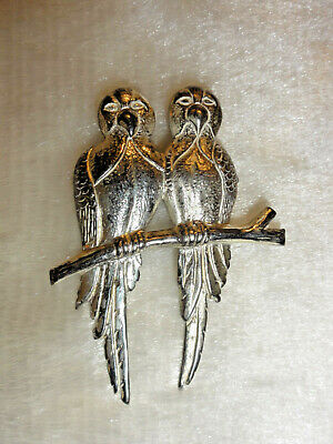 """Old Sterling Silver Parrot Brooch Tropical Birds Vintage Sterling Silver Pin 2"""""""
