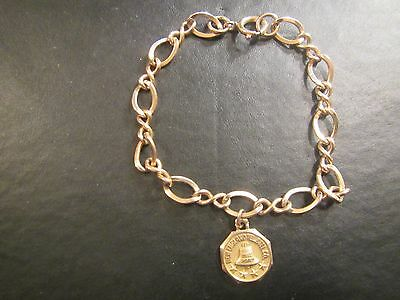 Vintage 10K Gold New England Telephone Bell Co Charm on 1/20 12kgf Bracelet