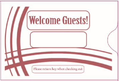 "Hotel Key Card Sleeve "" Welcome Guests""  2-3/8"" x 3-1/2"" 1000CT- Item#KCB238B"
