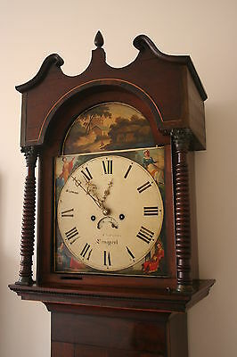 ORNATE PAINTED DIAL 8 DAY LONGCASE CLOCK by COUZENS of LANGPORT SOMERSET
