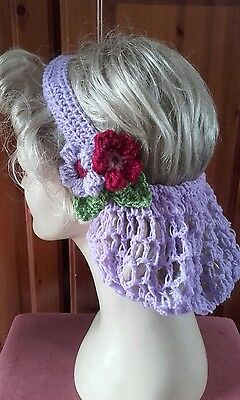 Vintage style 1940's handmade hair snood wartime ww2 Victorian lilac hair net