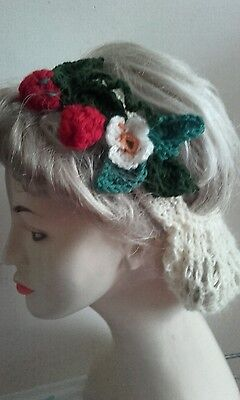 Vintage style 1940's handmade hair snood hat wartime ww2 Victorian strawberries