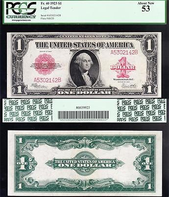 Awesome HIGH GRADE 1923 $1 RED SEAL US Note! FREE SHIP! PCGS 53! A5302142B