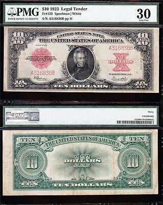 "Awesome *RARE* Bold & Crisp VF++ 1923 $10 ""POKERCHIP"" US Note! PMG 30! A316836B"