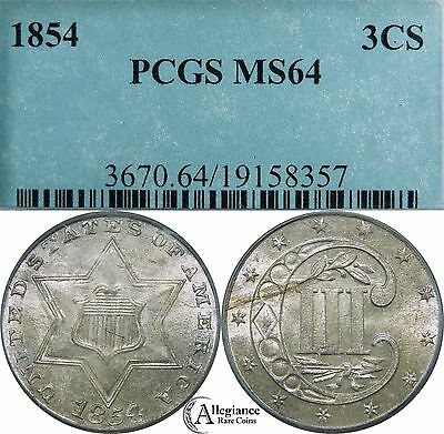 1854 3cs Three Cent Silver PCGS MS64 rare old type coin 3c money luster!