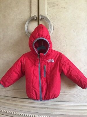 ❤️North Face Perrito Boy Girl Red Sz 6-12-18 Month Reversible Jacket Hooded Coat