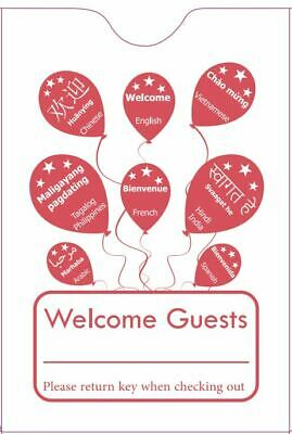 """Hotel Keycard Envelope/ Sleeve """" Welcome Guests"""" Red 2-3/8"""" x 3-1/2"""" 500/Box"""
